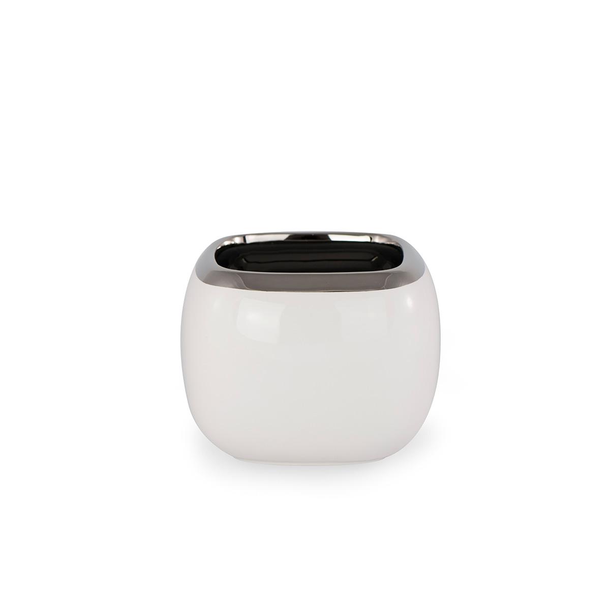 Doniczka Ceramiczna Biała Kwadratowa Mała