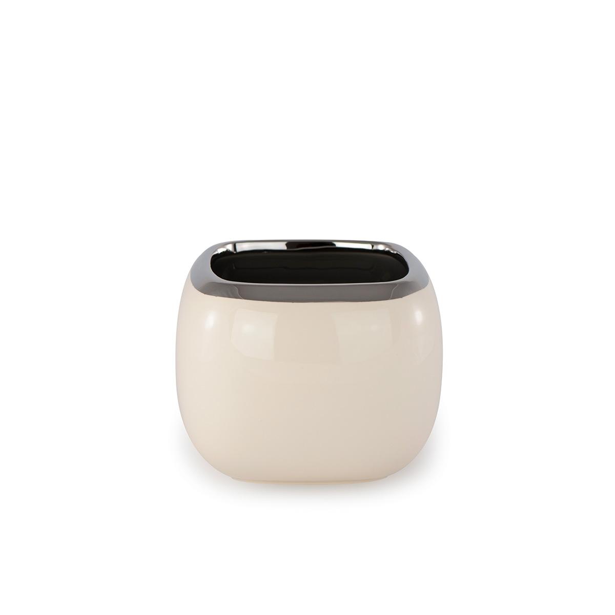 Doniczka Ceramiczna Ecru Kwadratowa Mała