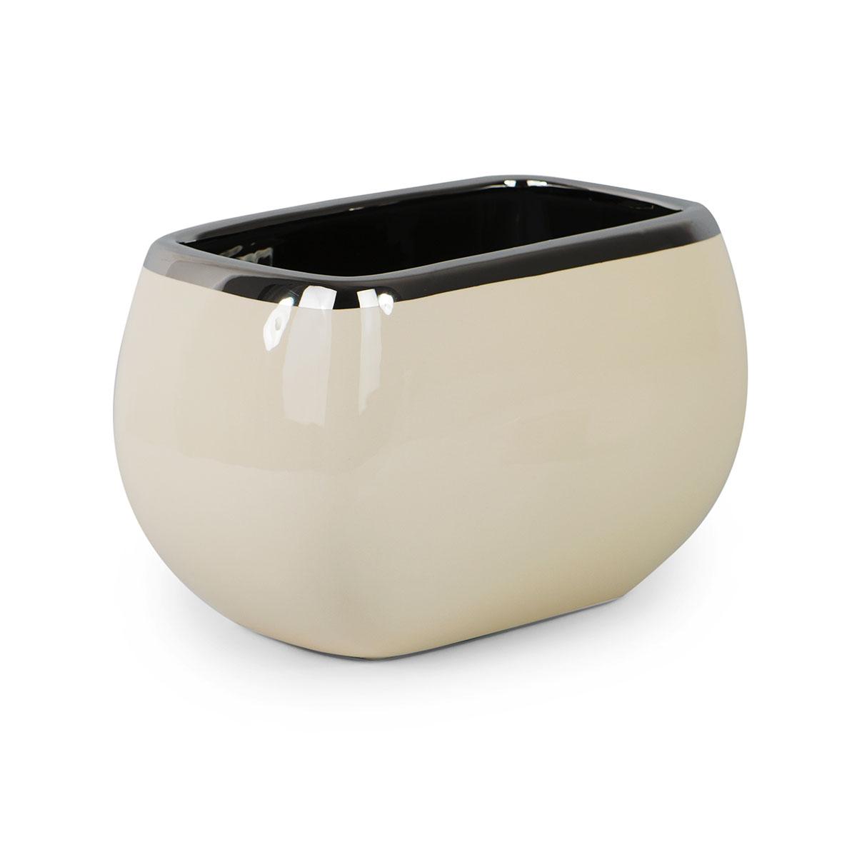 Doniczka Ceramiczna Ecru Prostokątna Duża